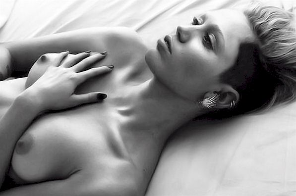 Miley Cyrus W Magazine Topless Outtake