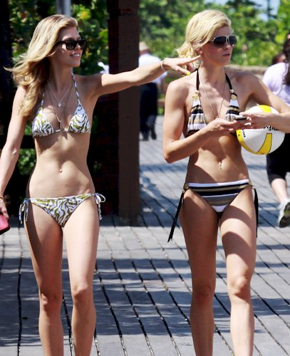 Annalynne and Angel McCord in bikinis