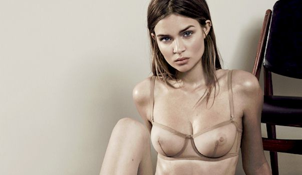 Josephine Skriver In A Sheer Bra For Interview 2014 The Nip