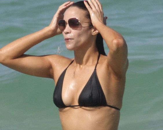 paula patton in black bikini and sunglasses
