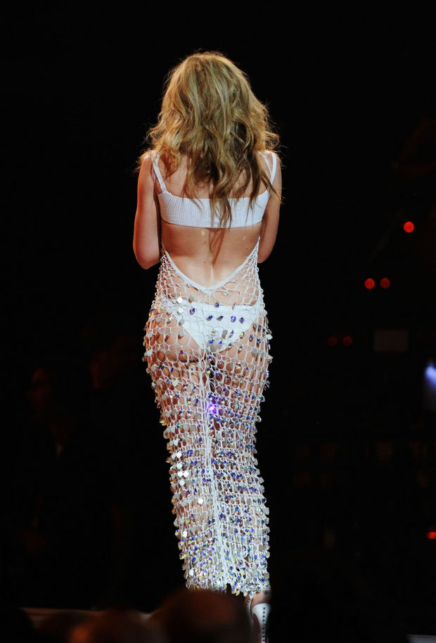 Kylie Minogue wore a see through type of dress to the 2011 Billboard ...