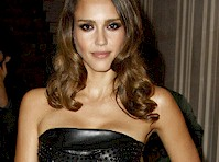 Jessica Alba in a Leather Dress