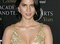 Olivia Munn's Cleavage in a Golden Dress