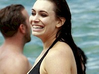 Sophie Simmons in a Black Bikini