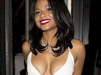 Christina Milian Brings Two Presents to a Birthday Party!