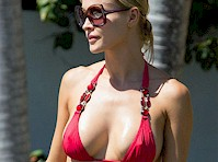 Joanna Krupa Pokies in a Red Bikini Top!