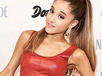 Ariana Grande in a Tight Leather Dress!