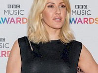 Ellie Goulding Braless in See Through Black Blouse
