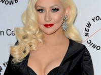 Christina Aguilera Cleavage in a Black Dress!