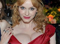 Christina Hendricks' Lopsided Cleavage at a Gala!