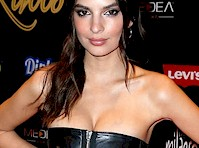 Emily Ratajkowski Cleavage in a Leather Dress!