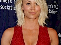 Kaley Cuoco's Cleavage in Red!