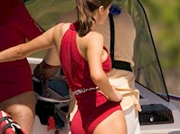 Alexandra Daddario's Ass in the Red Swimsuit!