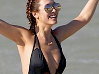 Myleene Klass Wearing A Black Swimsuit In Cape Town