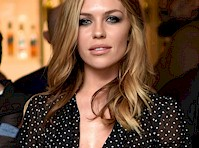 Abbey Clancy Braless in See Through Sheer Blouse