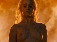 Emilia Clarke Topless in the Fire from <em>Game of Thrones</em>!