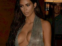 Kim Kardashian in a Slinky Silver Dress!